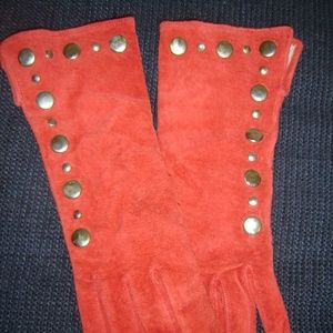 Accessories - Red Suede Gloves with Studs